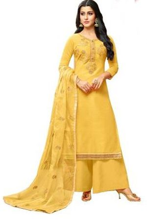 yellow-embroidered-chanderi-silk-salwar-dress-material-sangeet-dresses-for-curvy-girls