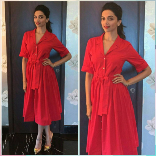 Deepika wearing red
