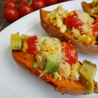 Egg stuffed sweet potato