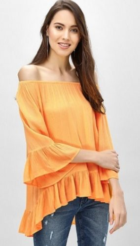 Asymmetric-Orange-off-shoulder-tops-for-women