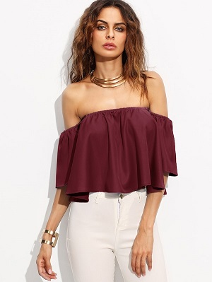Hot-Burgundy-off-shoulder-tops-for-women