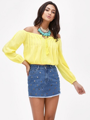 Yellow-Dainty-Fellow-off-shoulder-tops-for-women