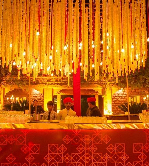 wedding decor with lights and fabric
