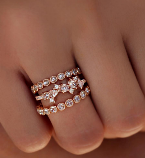 2 stackable engagement rings