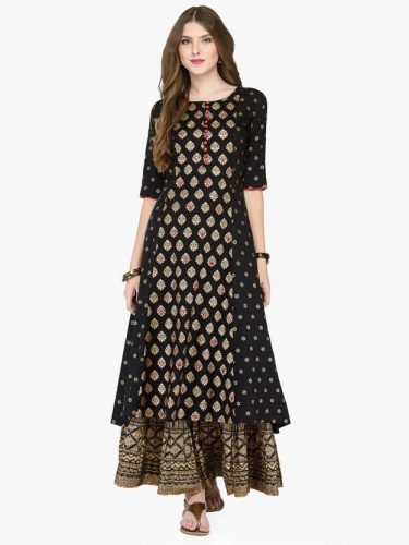 Kurti with Skirts for Indian Festivals- All Black 14