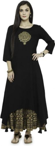 Kurti with Skirts for Indian Festivals- All black khadi 30