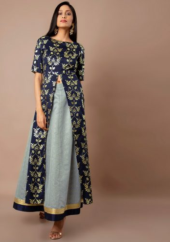 Kurti with Skirts for Indian Festivals- All blue 29