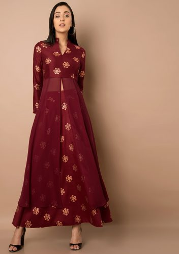 Kurti with Skirts for Indian Festivals- All maroon 50