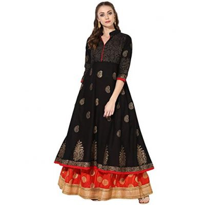 Kurti with Skirts for Indian Festivals- Black Red 6