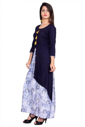 Kurti with Skirts for Indian Festivals- Blue Light Blue 11