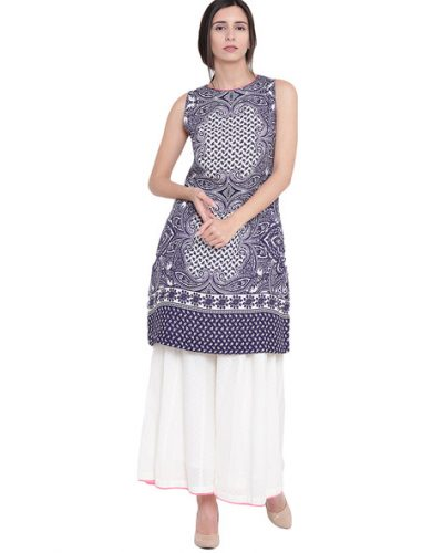 Kurti with Skirts for Indian Festivals- Blue White 3