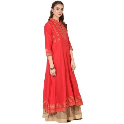 Kurti with Skirts for Indian Festivals- Coral Gold 10