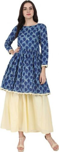 Kurti with Skirts for Indian Festivals- Indigo peplum 18