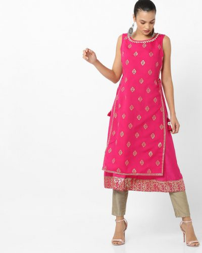 Kurti with Skirts for Indian Festivals- Pink 1