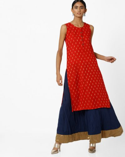 Kurti with Skirts for Indian Festivals- Red And blue 2