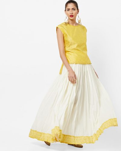 Kurti with Skirts for Indian Festivals- White and yellow 5