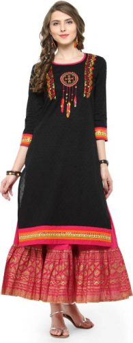 Kurti with Skirts for Indian Festivals- black red set 16