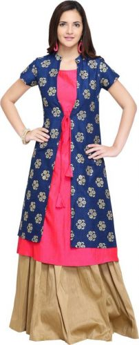Kurti with Skirts for Indian Festivals- blue pink gold 20