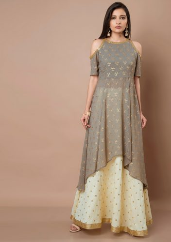 Kurti with Skirts for Indian Festivals- grey white 27