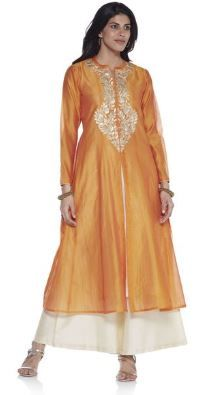 Kurti with Skirts for Indian Festivals- orange beige 41