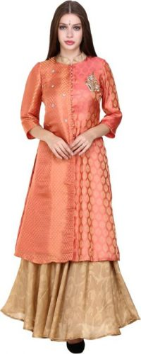 Kurti with Skirts for Indian Festivals- peach gold 22
