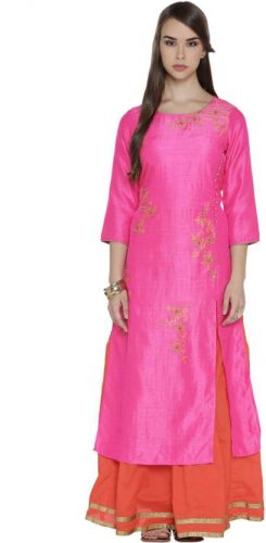 Kurti with Skirts for Indian Festivals- pink orange 19