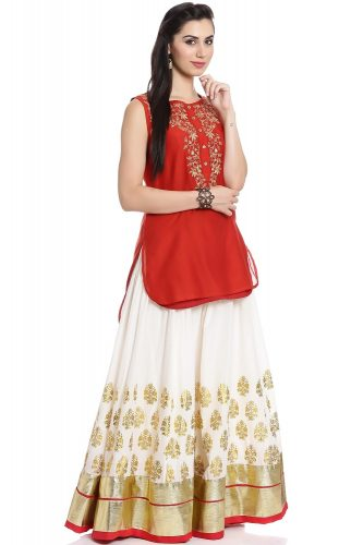 Kurti with Skirts for Indian Festivals- red and white 4
