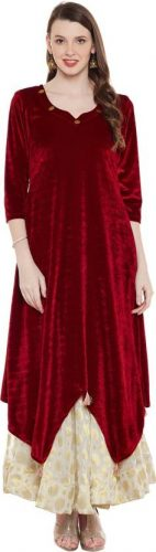 Kurti with Skirts for Indian Festivals- red velvet 38