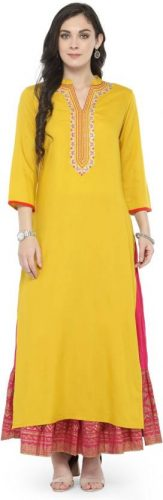 Kurti with Skirts for Indian Festivals- yellow pink 36