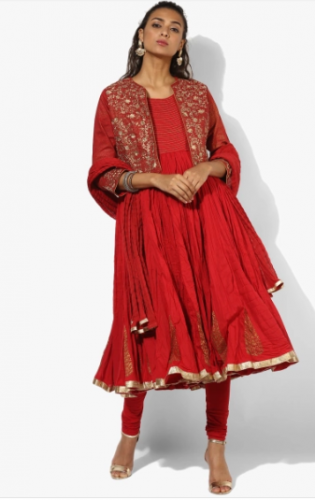 karva-chauth-outfit-red-anarkali