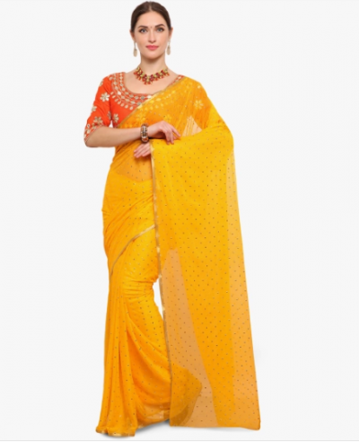 karva-chauth-yellow-saree
