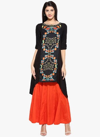 7 black kurtas for women
