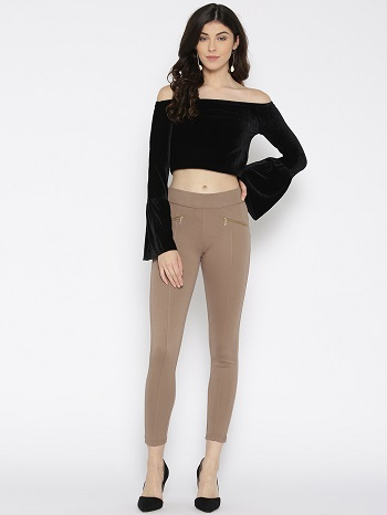 Women-Brown-Solid-Woven-Treggings