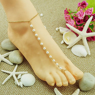 New Celebrity Style Barefoot White Pearl Charm Golden Chain Anklet Women Gift