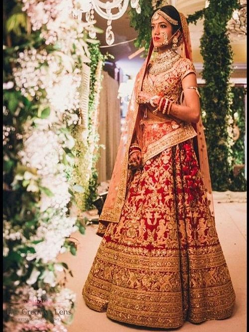 10 red bridal lehengas