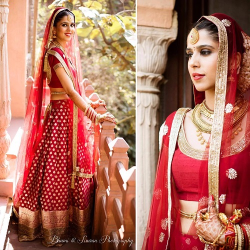 3 red bridal lehengas