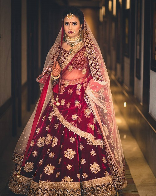 9 red bridal lehengas