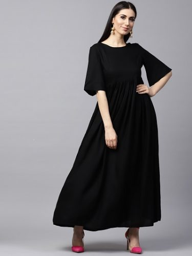 Black-Solid-Flared-Pleated-Anarkali