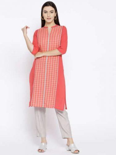 Checked-Straight-Kurta-ethnic-wear
