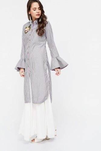 Embroidered-striped-Long-Sleeves-Kurta-ethnic-dresses