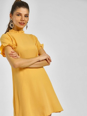 mustard-dresses-with-sleeves
