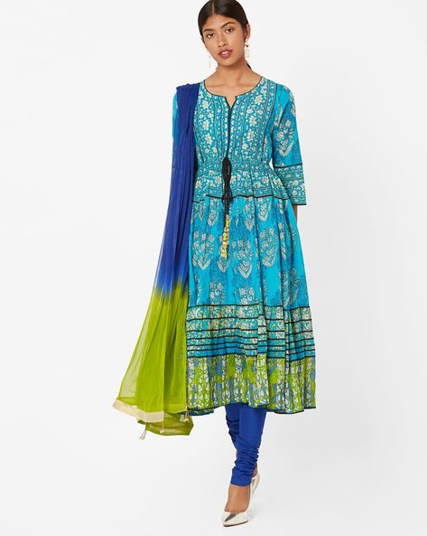 1 indian wear trends Printed Churidar Kurta with Dupatta