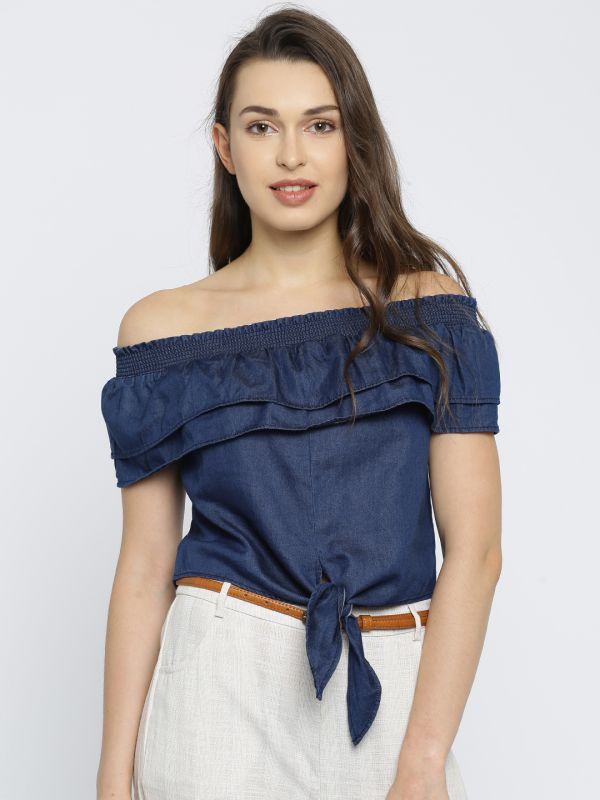 1 summer tops blue off shoulder top