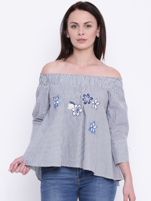 9 summer tops blue off shoulder top