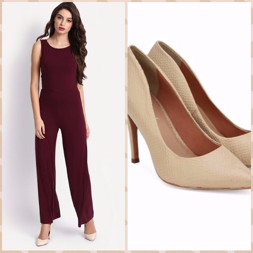 6-bachelorette party outfits-burgundy jumpsuit-carlton london pumps