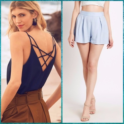 7-bachelorette party outfits-sky pleated shorts next camisole