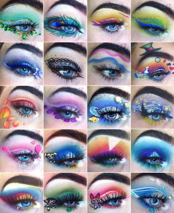 7-mua who draws portraits on her eye-makeup looks eye