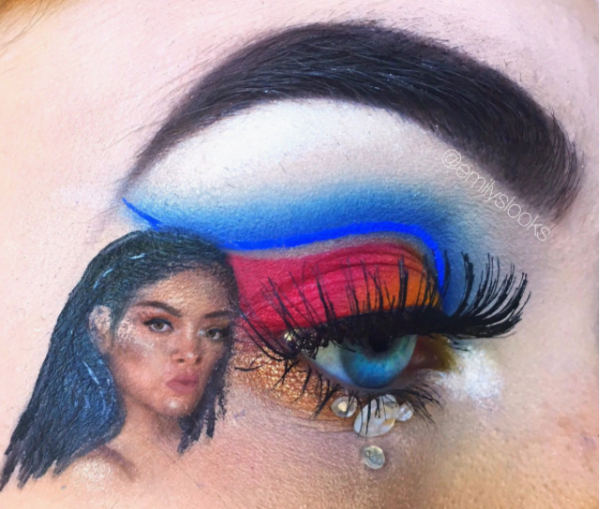 2-mua who draws portraits on her eye-rihanna