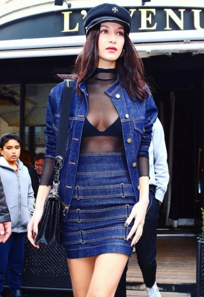 8 wear denim on denim - bella hadid