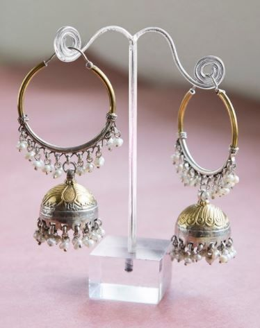 2 pretty jhumkas - Silver Anusuya ES 3060 Jhumka Earrings